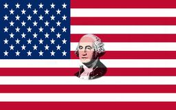 Closeup of United States of America flag with portrait George Washington royalty free illustration