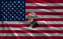 Closeup of United States of America flag with portrait George Washington stock illustration