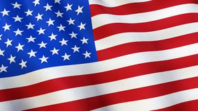 The USA flag, waving in the wind stock image