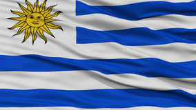 Closeup Uruguay Flag. Waving in the Wind, High Resolution Royalty Free Stock Photo