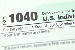 Closeup of us tax form Royalty Free Stock Photo