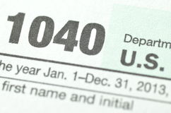 Closeup of us tax form Stock Images