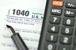 Closeup of us tax forms Stock Photography