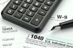 Closeup of us tax forms Stock Photo