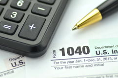 Closeup of us tax forms Royalty Free Stock Photo