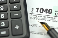 Closeup of us tax forms Royalty Free Stock Image
