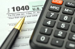 Closeup of us tax forms Royalty Free Stock Photos