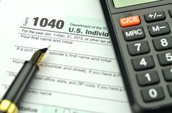 Closeup of us tax forms Royalty Free Stock Images