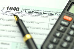 Closeup of us tax forms Royalty Free Stock Photos
