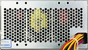 Closeup used computer power supply grid with color wireds. For background royalty free stock image