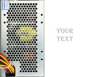 Closeup used computer power supply isolated. And place for text Stock Photo