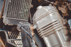 Closeup of used metal motorcycle engine on Stock Image