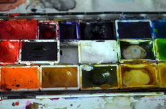 Closeup of a used paintbox Stock Photography