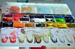 Closeup of a used paintbox Stock Image