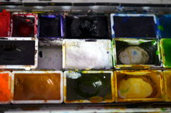 Closeup of a used paintbox Royalty Free Stock Images