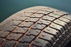 Closeup of used tyre royalty free stock image