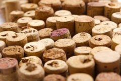 Closeup of used wine corks. Closeup of a wall of used wine corks. A random selection of used wine corks, some with vintage years Royalty Free Stock Photo