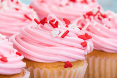 Closeup of Valentines Day cupcakes Stock Photos