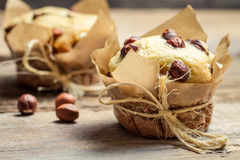 Closeup of vanilla muffin with nuts Stock Photography