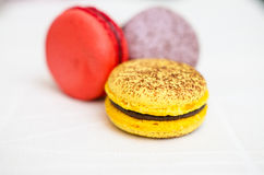 Closeup of varieties of macarons Stock Photo
