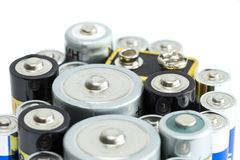 Closeup of variety of batteries Royalty Free Stock Image