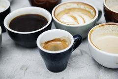 Closeup of various hot coffee cup Royalty Free Stock Photos