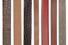 Closeup of various leather belts Stock Images