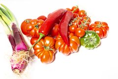Closeup of various types of vegetables from Italy such as tomato. Closeup of various types of vegetables from Italy, typical of the Mediterranean diet, such as Stock Images