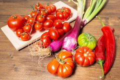 Closeup of various types of vegetables from Italy such as tomato. Closeup of various types of vegetables from Italy, typical of the Mediterranean diet, such as Royalty Free Stock Photo