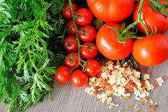 Closeup of vegetable groceries on the wooden kitchen table Stock Photo