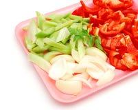 Closeup vegetable plate. Closeup a fresh vegetable plate Stock Photos