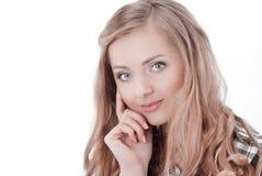 closeup Verticale d'une jeune femme d'affaires D'isolement sur le blanc image libre de droits