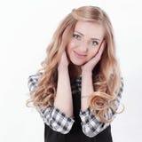closeup Verticale d'une jeune femme d'affaires Sur le blanc images libres de droits