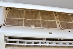 Closeup very dirty air conditioner filter. Royalty Free Stock Image