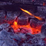 Closeup of very hot firewood transformed in embers Royalty Free Stock Photography
