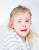 Closeup of very sad young girl. Little kid crying with desperation Stock Photo