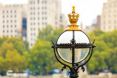 Closeup victorian street lamp in city London Royalty Free Stock Photo