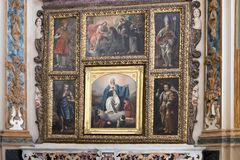 Closeup view of an altar in Matera Cathedral featuring Madonna blessing the child Royalty Free Stock Photography