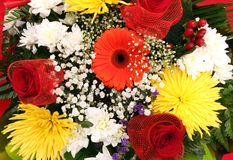 Assorted flowers in bouquet closeup Stock Photos