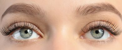 Closeup view of beautiful young woman with eyelash stock images