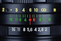 Closeup view of black retro photo lens. Closeup view of a black retro photo lens stock photography