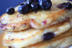 Closeup view of blueberry pancakes Royalty Free Stock Images