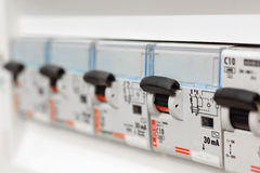 Closeup view of a box with automatic fuses Royalty Free Stock Photo