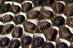 Closeup view of box of chocolates, view from above royalty free stock images