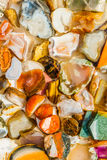 Closeup view of bright cut and polished minerals in the water Stock Image