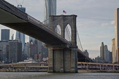 Closeup view of Brooklyn Bridge royalty free stock photography