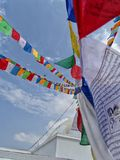Closeup view of Buddhist prayer flags in a Buddhist stupa in Kathmandu city, Nepal stock photos