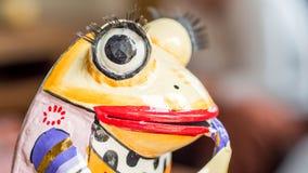Closeup view of ceramic multicolored frog Stock Image
