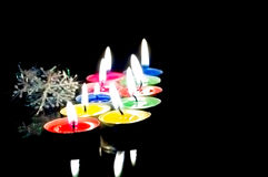 Closeup view of the christmas candles. Stock Photo
