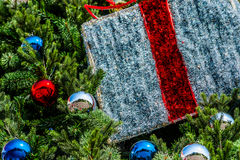 Closeup view of a Christmas tree decorated with glass balls Stock Photo